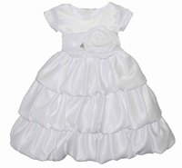 Girls Christening Dress Fancy Toddler White Satin Bubble Pick-Up