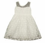 Christening Girls Dress Cotton with Illusion Bodice