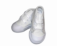 Boys Christening Shoes White Canvas Lace Up High Tops