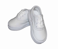 Boys Christening Shoes White Canvas Lace Up Baptism Shoe