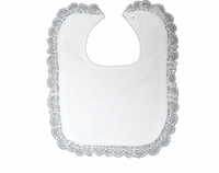Girls Christening Bib White Satin Embroidered Cross