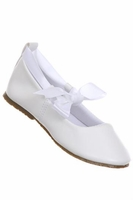 Christening White Faux Leather Ballet Shoe with Ribbon