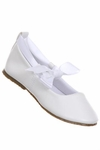 Christening White Faux Leather Ballet Shoe with Ribbon size 3