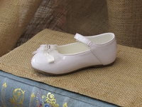 Christening White Faux Patent Mary Janes withTulle Bow
