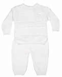 Christening White Knit Unisex Outfit Set