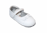 Girls Christening Shoes White Leather Simple Baptism Shoe