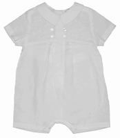 Boys Christening Outfit White Irish Linen Bubble Romper