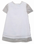 Girls Christening Dress White Fine Linen & Silk Organza