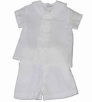 Boys Christening Outfit White Linen Short Set Baptism Bobby Suit