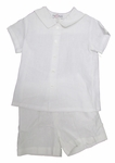 Boys Christening Outfit White Linen Short Set 24 months