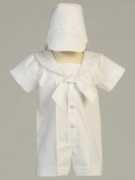 Boys Christening Outfit White Sailor Romper Shortalls 12/18 months