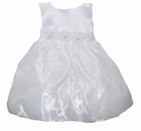 Girls Christening Dresses Fancy White Organza Dress Sparkle Rossettes