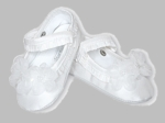 Girls Christening Shoes White Satin and Lambskin Baby Slipper Booties