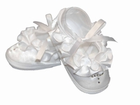 Girls Christening Shoes White Satin Ballerina Slipper