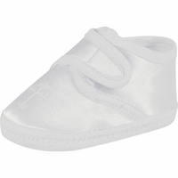 Boys Christening Shoes White Satin Cross Infant Booties