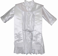 Boys Christening Robe White Satin Embroidered Baptism Robe Set