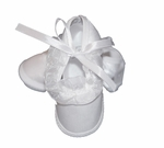 Girls Christening Shoes Baby White Satin Infant Baptism Slippers size 1
