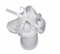 Girls Christening Shoes Baby White Satin Infant Baptism Slippers