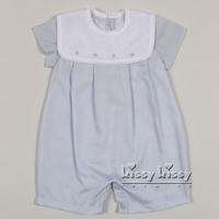 Boys Christening Outfit Blue Bubble Romper Shortalls