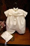Fine Silk Boys Bubble Romper Hand Made for Baby Baptism
