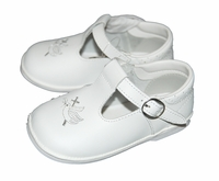 Girls Christening Shoes White Leather Embroidered Details