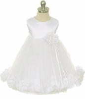 Girls Christening Dress Satin and Rose Petals