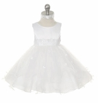 Girls Christening Dress Satin Sparkle Princess Tulle