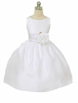 Girls Christening Dress Soft Shantung & Organza Sash