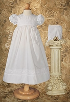 Girls Christening Gown with Rose Panel and Hat