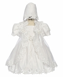 Girls Fancy Satin and Organza Baptism Dress Set 24m/2T