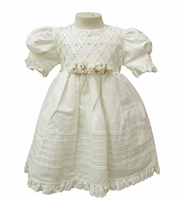 Girls Light Ivory Cotton Blend Christening Dress and Hat