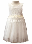 Girls Soft Cotton and Tulle Christening Dress