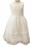 Girls Soft Cotton Christening Dress with Embroidered Trim