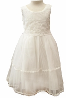 A Girls Soft Cotton Christening Dress with Embroidered Trim