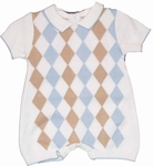 Infant Boys Fine Knit Argyle Romper