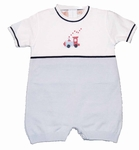 Infant Boys Knit Train Shortall 100% Cotton