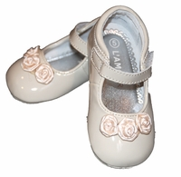 Girls Christening Shoe Patent Ivory Infant Baptism