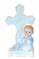 Keepsake Christening Figurine with Cross Blue