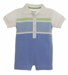 Multi-Striped Cotton Polo Romper