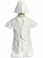 Boys Christening Outfit Shantung Short Set