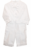 Boys Christening Outfit Shantung Vest Suit Diamonds 0-3 months