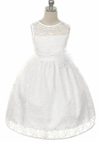 Toddler Girls Baptism Dress  Modern Lace Illusion