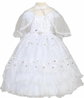 Toddler Girls Baptism Dress Organza and Sparkle Cape Set