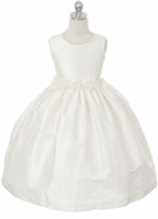 Toddler Girls Baptism Dress Shantung & Rosettes