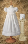 Traditional Girls Christening Gown with Heart Lace trim