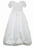 Girls Christening Gown Silk & Beads Simple Isabel