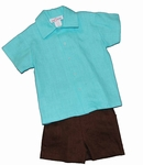 Turquoise & Chocolate 2-piece Irish Linen Short Set