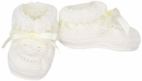 Unisex Christening Shoes Ivory Knit Bootie