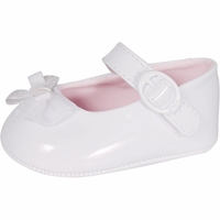 Girls Christening Shoes White Faux Patent Infant Baptism