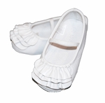 Girls Christening Shoes White Leather Ruffles Baby Baptism Slipper